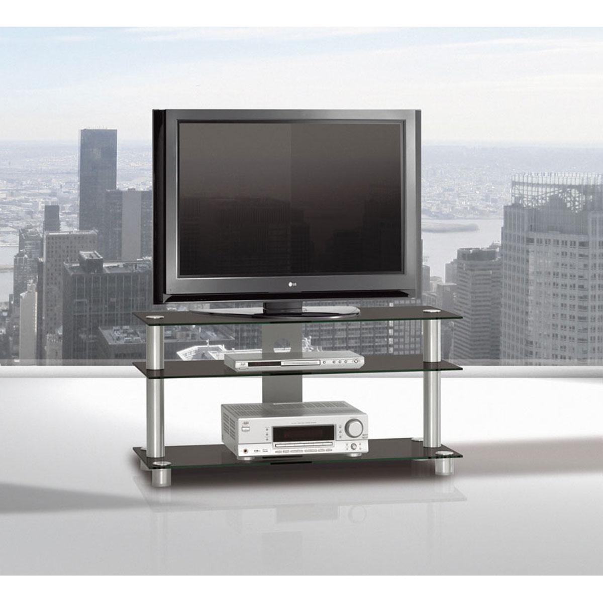 Ein rollbares TV Möbel. 105x53x40 cm (BxHxT). 3 Fachböden aus Glas. Tragesäulen aus Aluminium. Modell TV 1053 Just Racks.