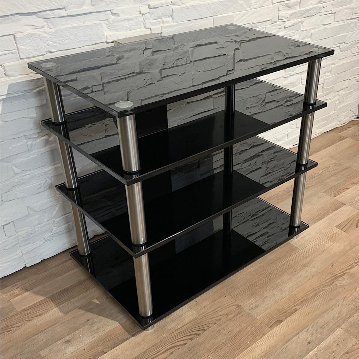 Hifiregal aus Glas, Hifi Glasmöbel, Board, Schrank, Tisch, Glass Concept, unterbringung von Hifi Geräten, mit vier Ebenen, frei gestalten nach Wunsch.