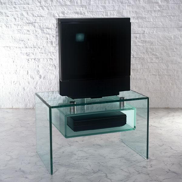 Fernsehtisch aus Glas mit Ablagebox für Audiogeräte. Stabil und kratzfest. Schlichtes Design. Modell Sappalco von Glass Concept.