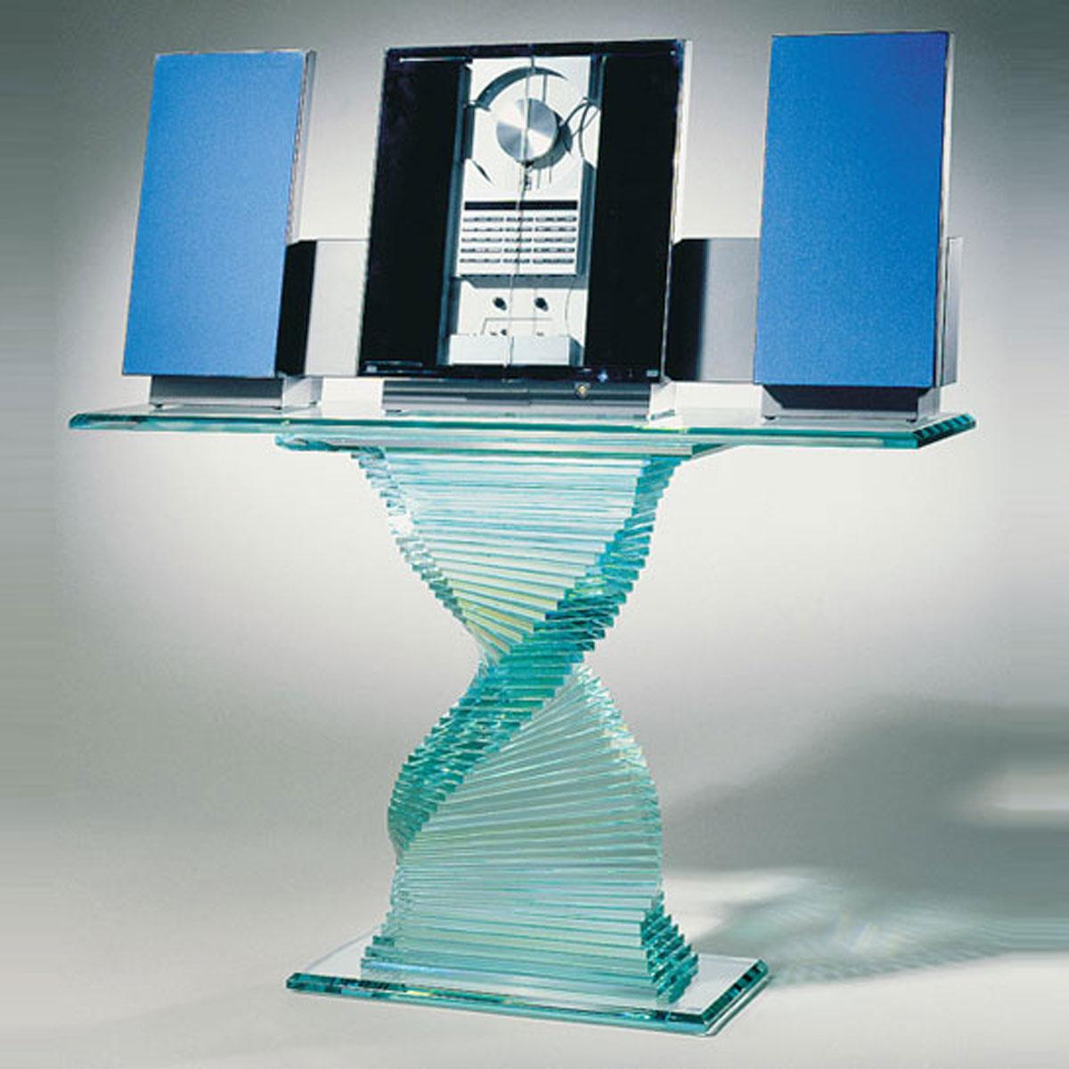 Designer Glastisch in Schraubenform für Hifi, TV. Stabil, UV verklebt. Modell Schraubentisch von Glass Concept.
