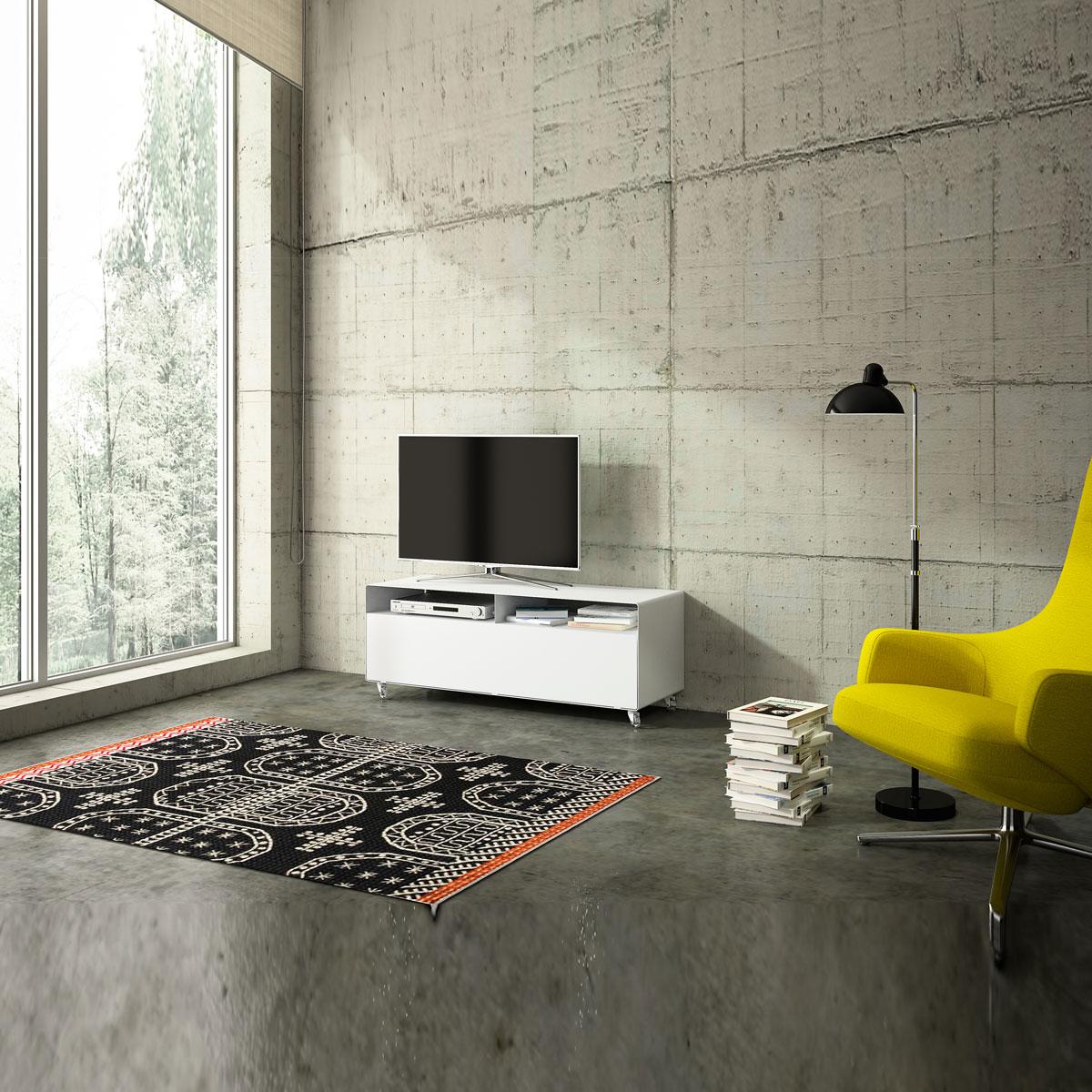 Rollbares Hifi Fernsehmöbel aus Stahl mit Klappe, oben 2 Fächer. 119,5 x 45 x 40 cm (BxHxT). Modell R109N von Müller.