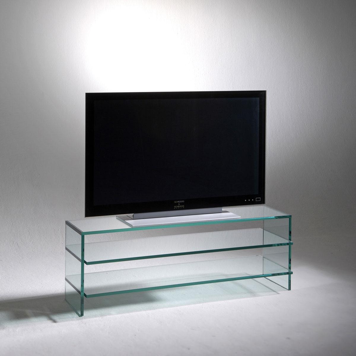 Ganzglasmöbel (15mm) für Hifi und TV. 3 Ablageböden. 110x42,5x42 cm (BxHxT). Modell Clear von Schroers&Schroers.