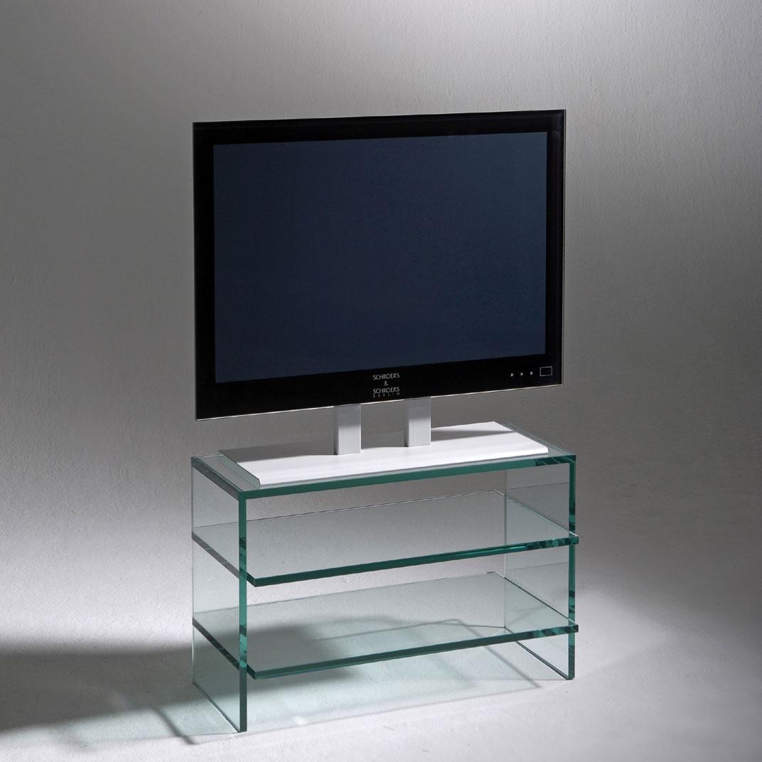 Hifi TV Moebel 70 x 42,5 x 42 cm (BxHxT) aus Glas. (15mm) 3 Ablageböden. Modell Clear 700 von Schroers&Schroers.