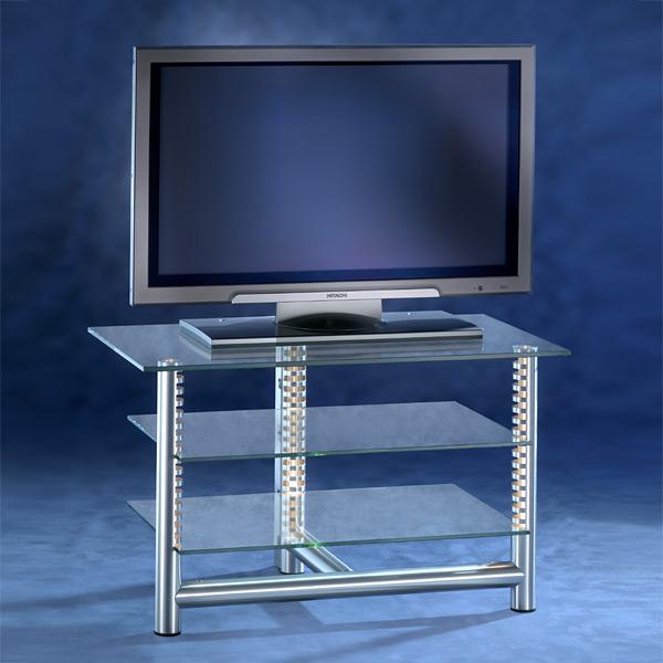 Fernsehregal-mit 3 Glasböden-Verstellbar-mit Aluminiumrahmen-mit Beleuchtungssystem. Modell Stoneless 70/85 von Liko Design.