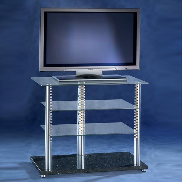 Ein Hifi TV Möbel. 85x50x50 cm (BxHxT). Sockel aus Marmor. Ablageböden aus Glas. Tragesäulen aus Aluminium. Verdeckte Kabelführung. Modell Vision von Liko Design.