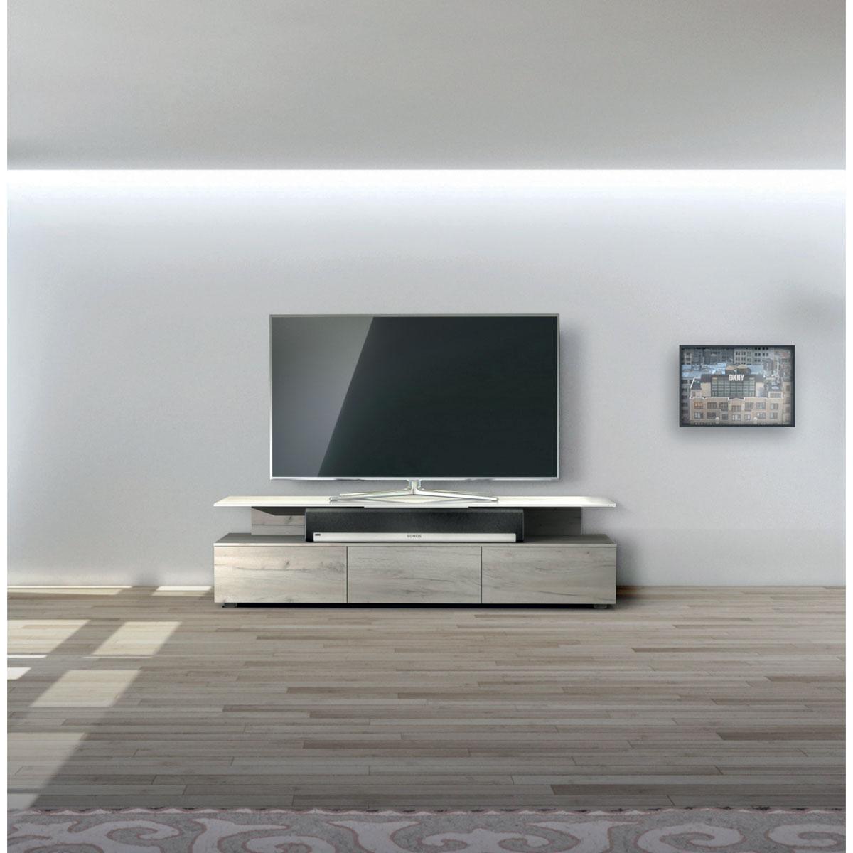 TV Schrank. Sichtbare Flächen verglast.   Soundbar Integration. 3 Klappen als Stauraum. Modell JRM 1650 von Just Racks.