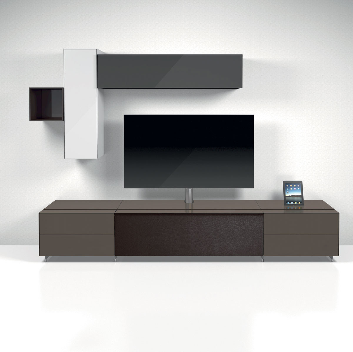 tv board lowboard movie korpus in schwarz matt fronten in creme hochglanz inkl led. Black Bedroom Furniture Sets. Home Design Ideas