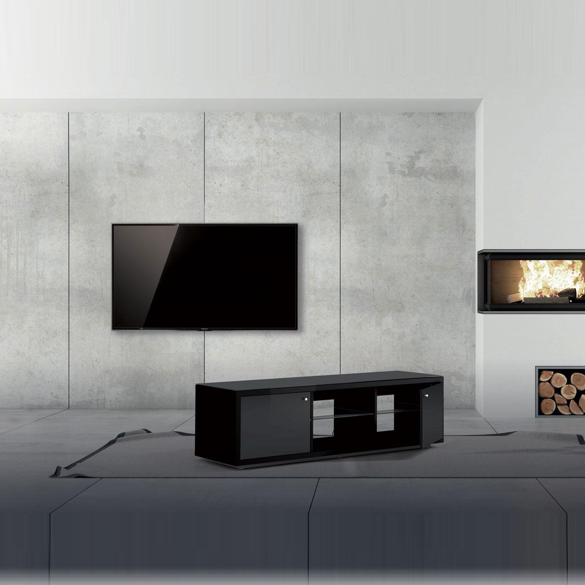 Schlichtes Hifi und TV Möbel, verglast von Just Racks.