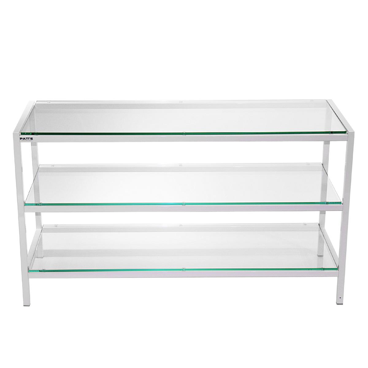 Hifi TV Regal. 104,5x59x40 cm (BxHxT). Rollbar mit 3 Fachböden aus Glas. Rahmen aus Stahl. Modell Move 4 You Typ C 2 von Patte International.