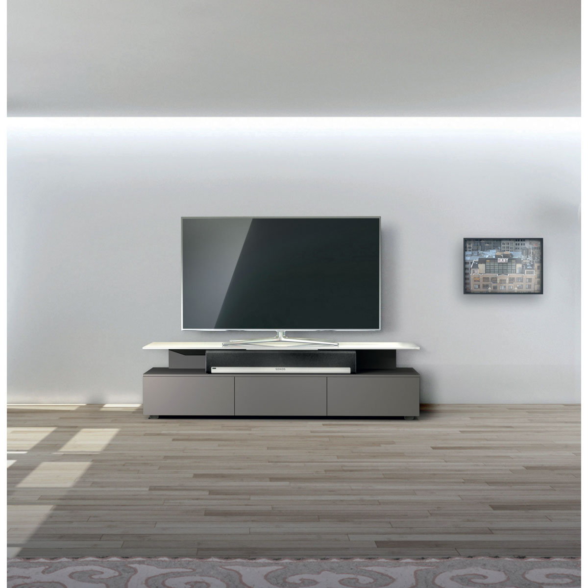 Hifi TV Lowboard. Soundbar Integration möglich. 3 Klappen für Audiogeräte. Modell PE 1650 von Just Racks.