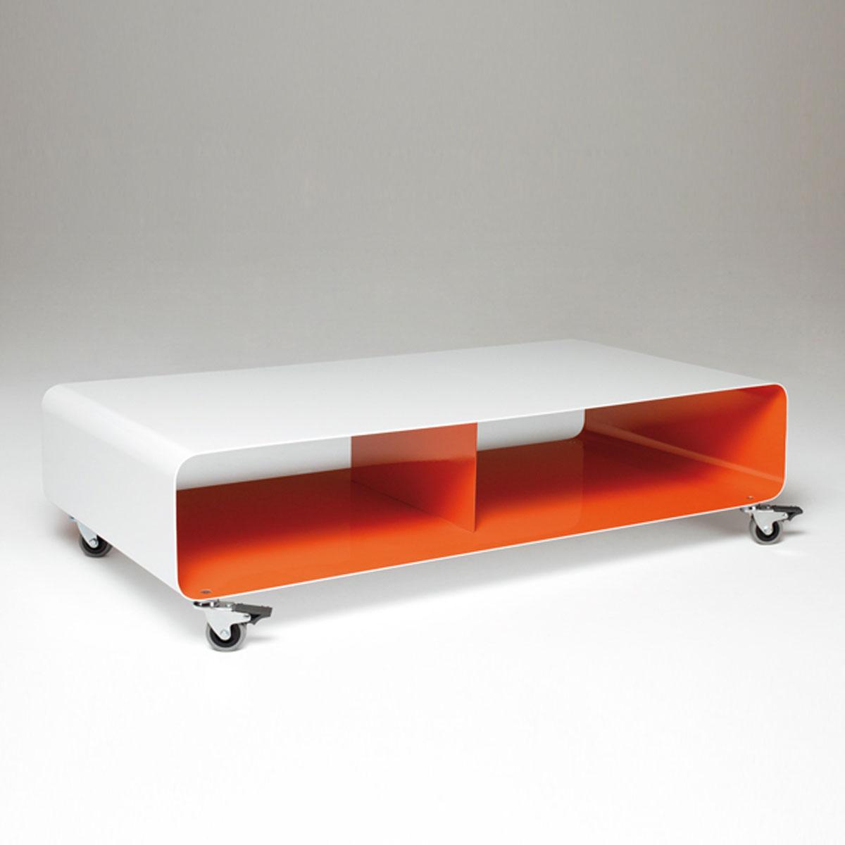Hifi TV Lowboard aus Stahl. Rollbar, sehr stabil. 2 x Ablagefach. 2000 Farben (NCS). Modell R200N Mobileline von Müller. 100 x 25 x 50 cm (BxHxT).