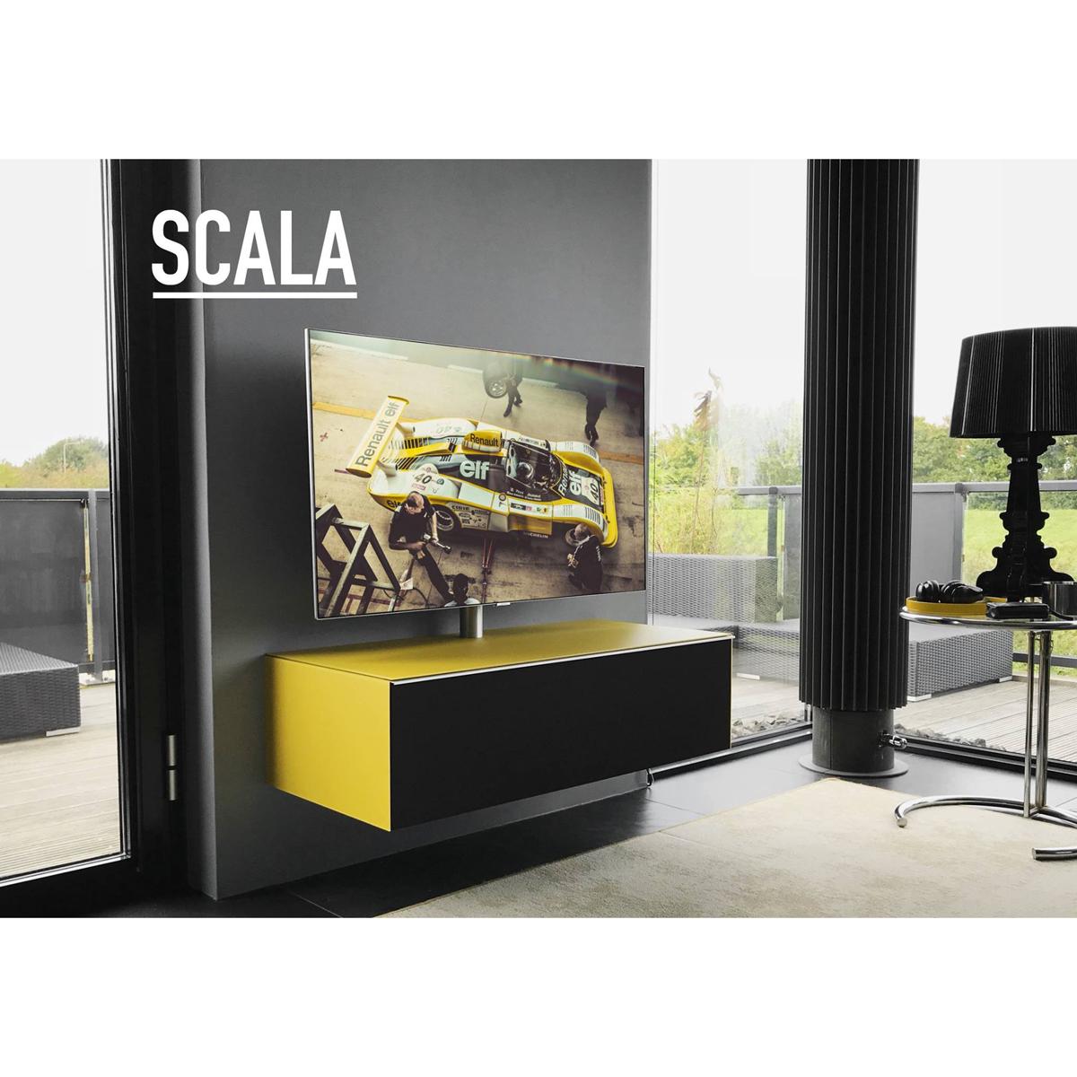 Wandhängendes Hifi TV Möbel mit Stoffklappe für eine Soundbar. Mit TV-Drehhalter. Modell Scala von Spectral.