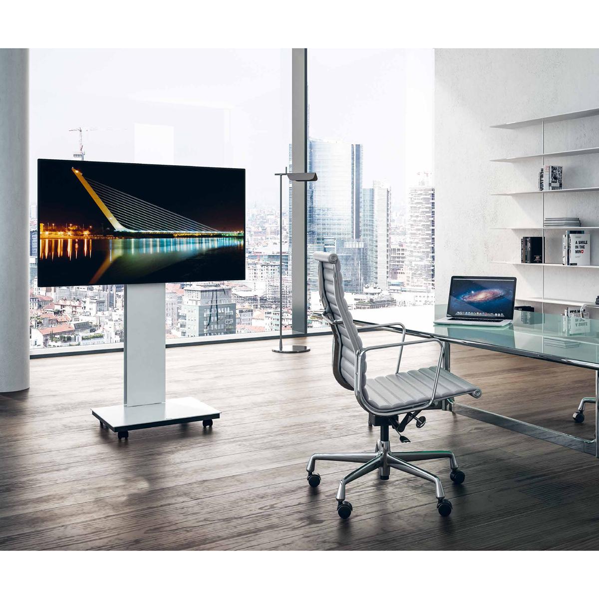 Ein rollbarer TV Ständer. Böden aus Glas. Wählbar aus 2000 Farben.