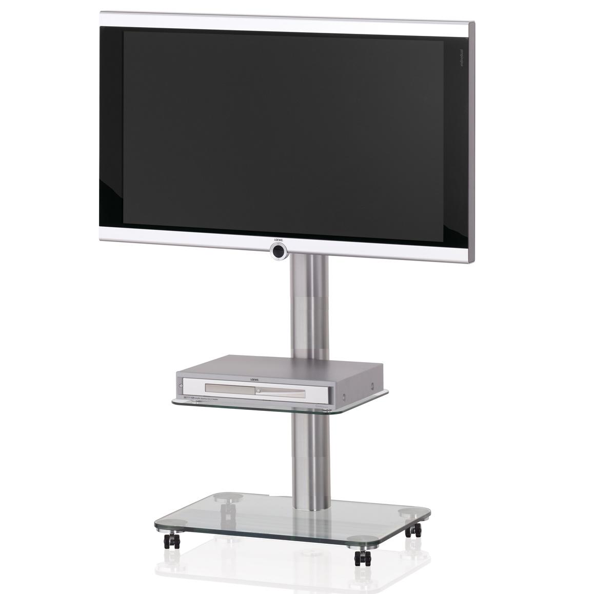 Ein rollbarer TV Halter. Mit 2 Ablageböden aus Glas. TV Säule aus Aluminium. Modell Floor QX 1012 von Spectral.