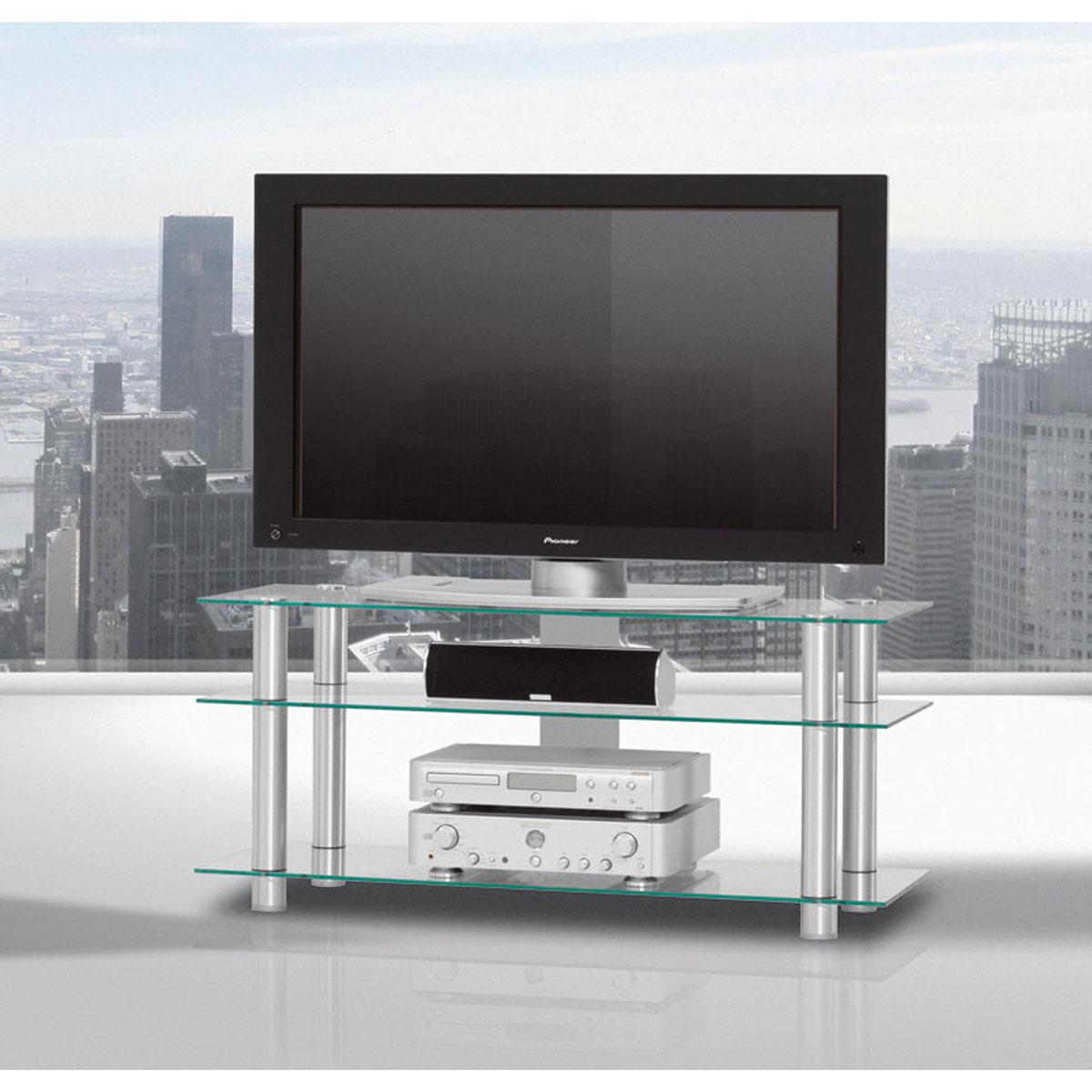 Optisch schönes Designtes rollbares TV Möbel. 120x53x40 cm (BxHxT). 3 Fachböden aus Glas. Mit Kabelmanagement. Säulen aus Aluminium. Modell TV 1203 von Just Racks.