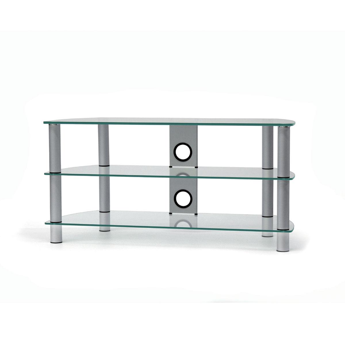 Ein Hifi TV Möbel. 3 Fachböden aus Glas. Tragesäulen aus Aluminium. Mit Kabelmanagement. Modell JRC 1051 von Just Racks.