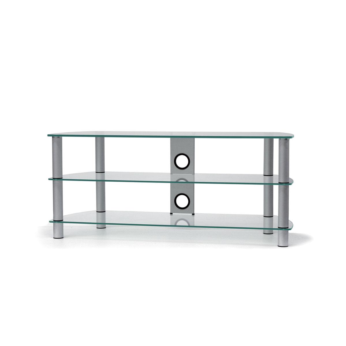 Ein Hifi TV Rack. 120x52x42 cm (BxHxT). Mit 3 Glasböden und Kabelmanagement. Tragesäulen aus Aluminium. Modell JRC 1201 von Just Racks.