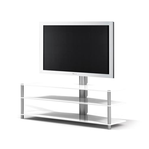 Ein Fernsehboard mit 3 Fachböden aus Glas. Tragesäule und TV Drehhalterung aus Aluminium. 140 x 93 x 54 cm (BxHxT). Modell Panel 182 von Spectral.