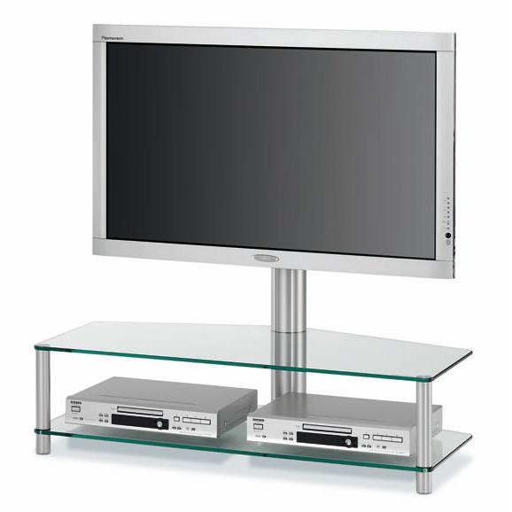 Ein TV Rack mit 2 Ablageböden aus Glas. Trage und drehbare TV Säule aus Aluminium. Verdeckte Kabelführung. 110 x 76 x 54 cm (BxHxT). Modell PL 151 von Spectral.