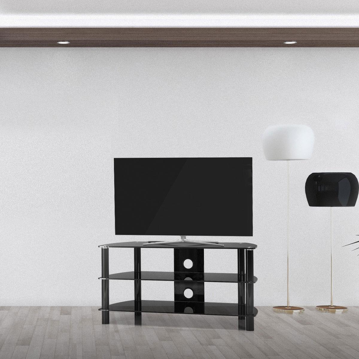 Ein Hifi TV Board. 3 Ablagefächer aus Glas und Kabelmanagement. Tragesäulen aus Aluminium. Modell JRC 1051 von Just Racks.