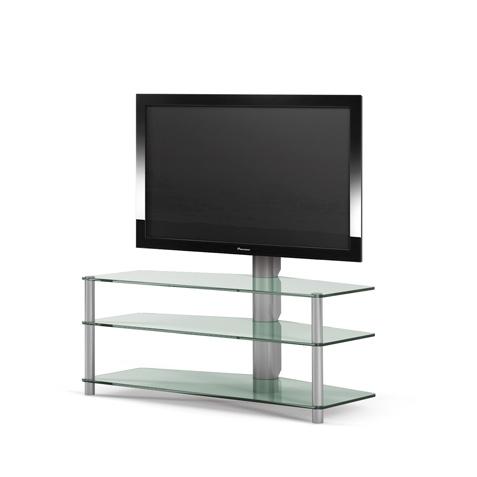 Fernsehmöbel mit 3 Ablageböden aus Glas. Tragesäulen und TV Drehhalterung aus Aluminium. Verdeckte Kabelführung. 110 x 93 x 54 cm (BxHxT). Modell Panel 181 von Spectral.