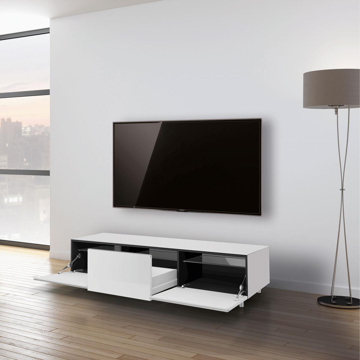 TV Lowboard verglast. Verdeckte Kabelführung. Schublade und Klappe. Glas sehr kratzfest. Modell JRL 1650S von Just Racks.