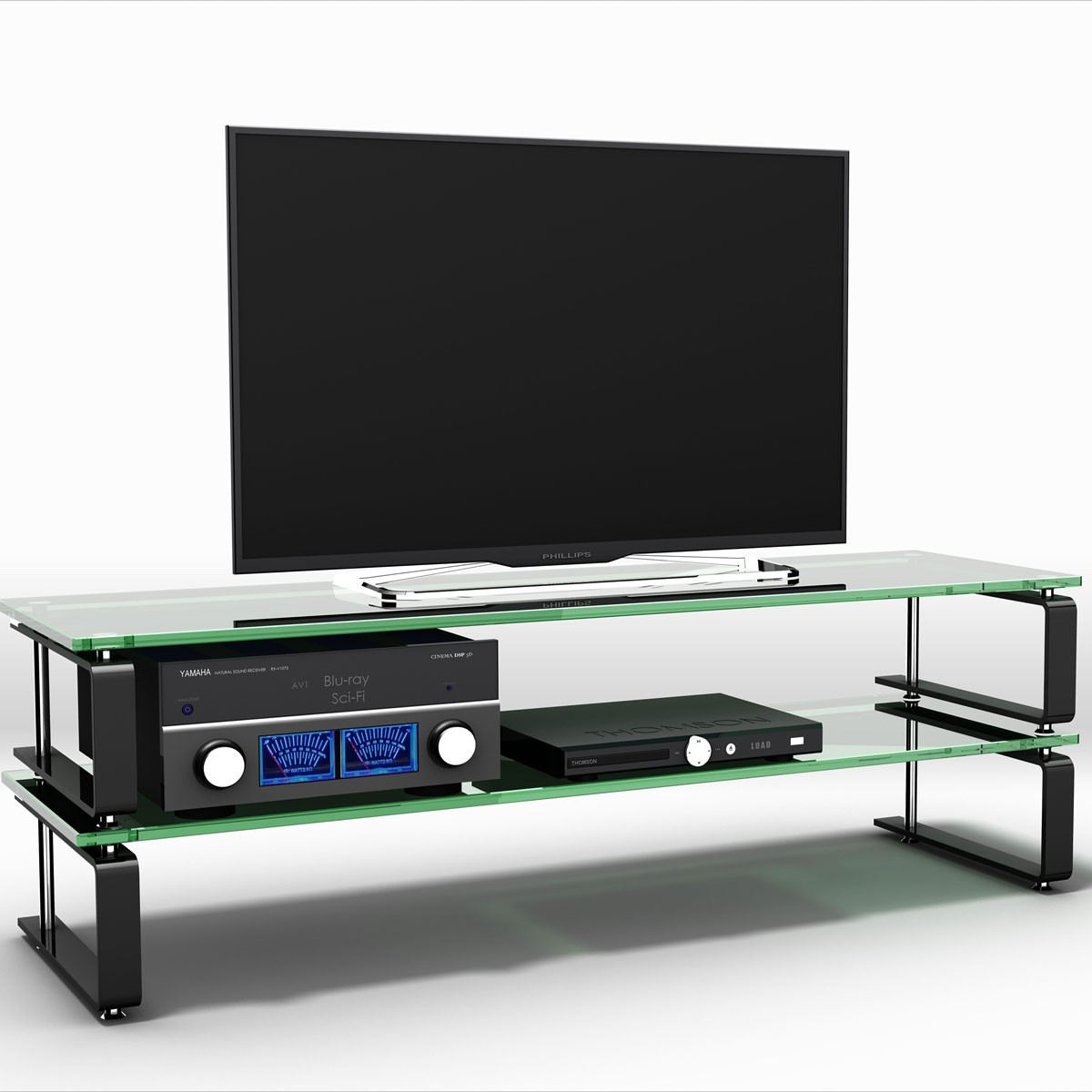 TV und Audiorack. 106,5 x 23 x 46 cm (B x H x T). 2 Ablageböden. Vibrationsgedämpft durch Soundglas. Rahmen aus Edelstahl. Exklusives Design. Modell Ladon TV 1340 von Schroers&Schroers.