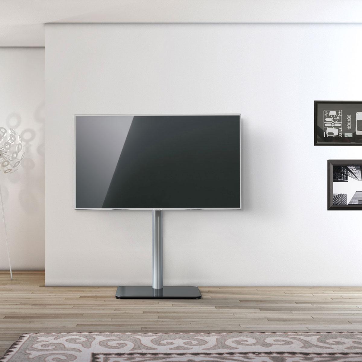 Ein einfacher Fernsehständer. TV Säule aus Aluminium. Verdeckte Kabelführung. Sockel aus Glas. Modell TV 600 von Just Racks.