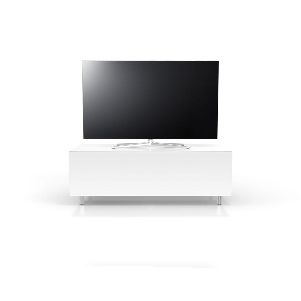TV Lowboard verglast mit Klappe. Kratzfest extrem stabil. Verdeckte Kabelführung. Modell JRL 1100S von Just Racks.