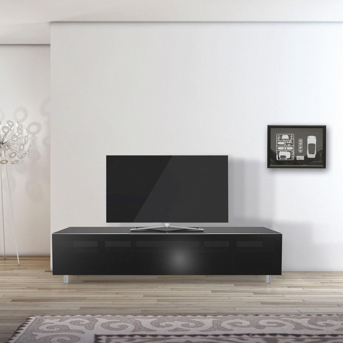 TV Möbel verglast. Soundbarintergration möglich. Mit Klappe. Unsichbare Kabelführung. Modell 1651S von Just Racks.