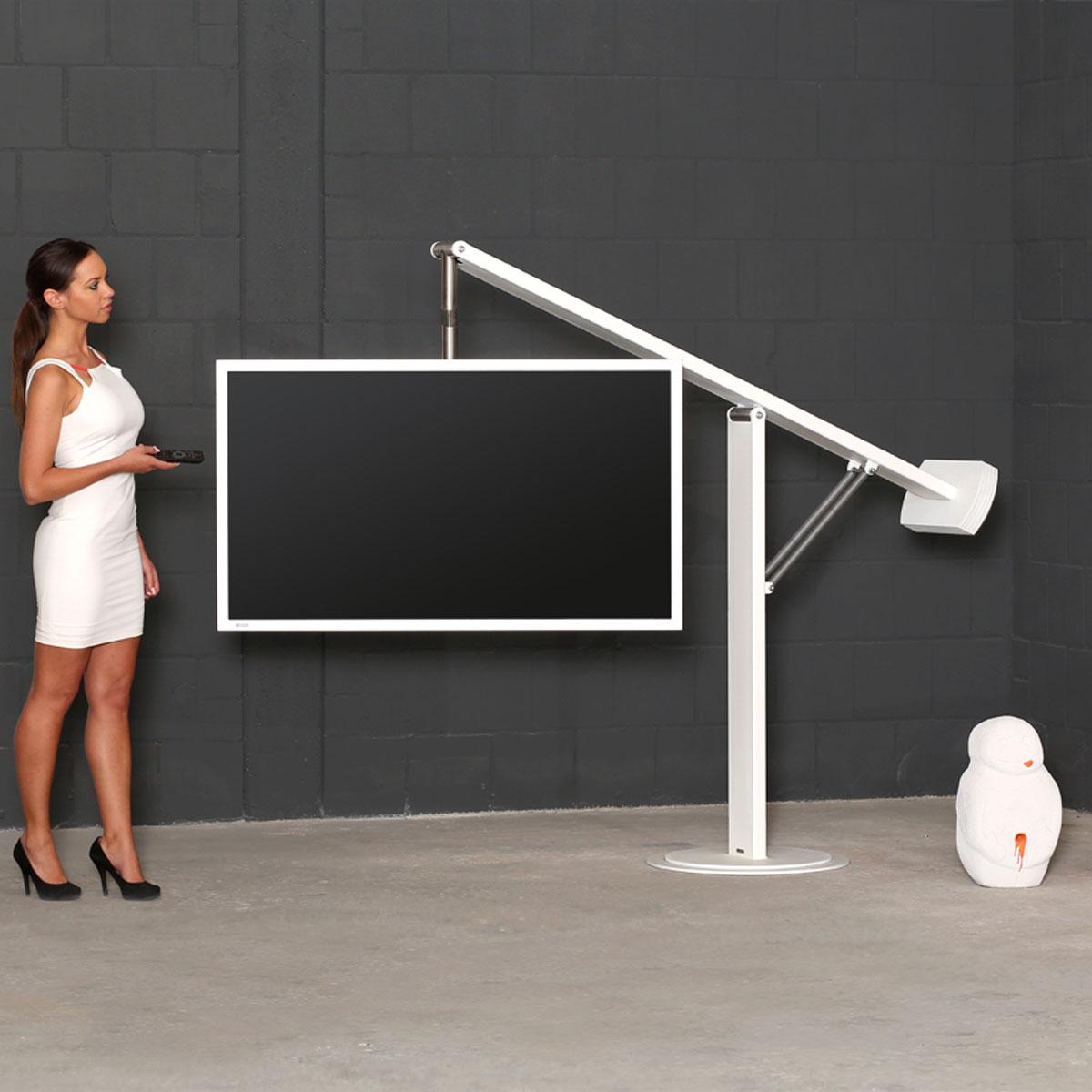 Fernsehhalter freistehend, sehr stabil. Höhenverstellbar. Für TV bis 70 Zoll. Modell Balance Art 131 von Wissmann Raumobjekte.
