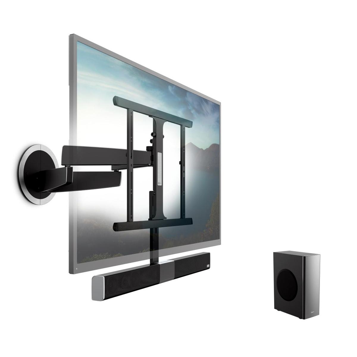 TV-Wandhalter-elektrisch schwenkbar mit intergrierter Soundbar mit Subwoofer. Modell Next 8375 von Vogels.